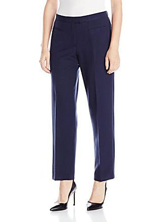Ruby Rd. Womens Petite Flat Front Easy Stretch Pant, Navy, 8