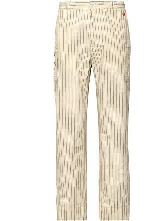 Human Made Logo-appliquéd Striped Cotton-twill Cargo Trousers - Off-white