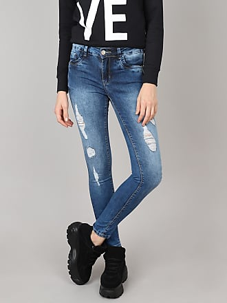 Sawary Calça Jeans Feminina Sawary Super Skinny Destroyed Azul Médio