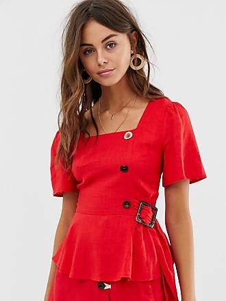 Moon River blouse with button and ring detail - Red