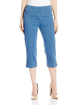 7ee5fbb015 Ruby Rd. Womens Petite Pull-on Indigo-Dyed Stretch Knitted Twill Cropped  Capri
