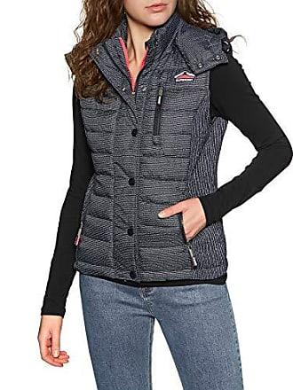 de846c62c412cf Superdry Fuji Slim Double Zip Vest Womens Body Warmer Large Navy Scribble