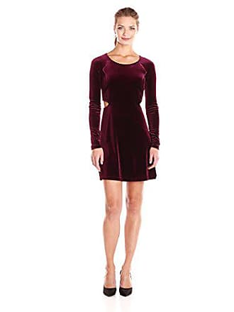 BCBGeneration Womens Flared Dress, Bordeaux, Small