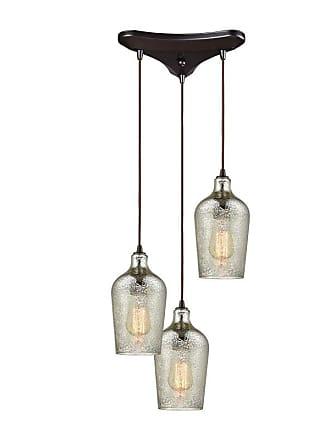 Elk Lighting 108 Hammered Glass 3 Light Pendant Light Mercury - 10830/3
