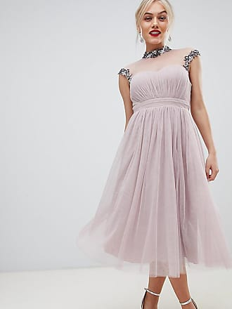 7015646947cd7 Little Mistress Petite midi prom dress with embellished collar and sleeves