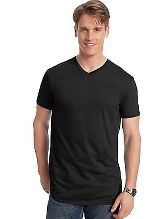 Hanes Mens Nano-T V-Neck T-Shirt Charcoal Heather 2XL