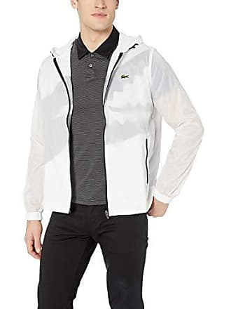 Lacoste Mens Sport Long Sleeve Contrasted Big Croc Wind Jacket, White/Black, XX-Large
