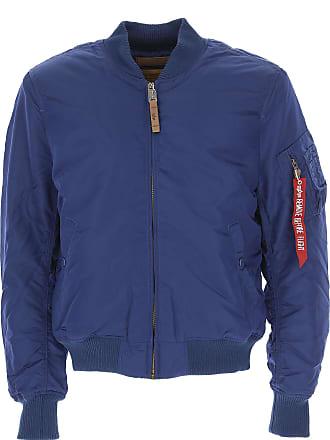 Alpha Industries Down Jacket for Men, Puffer Ski Jacket On Sale, Ocean Blue, polyester, 2017, L M XL
