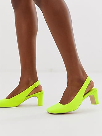 ef5f7421165 Asos Serpent - neongula skor med mellanhög klack och hälrem - Neongul