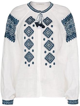 Vita Kin Blusa de seda bordada - White Blue