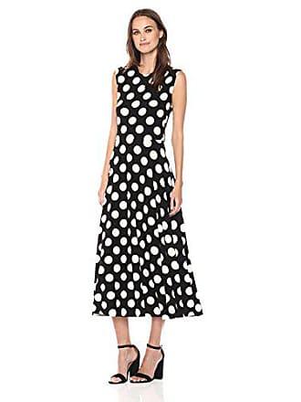 Norma Kamali Womens Sleeveless Flaired Dress, Polka dot, XL