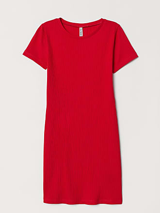 H&M Ribbed Jersey Dress - Red
