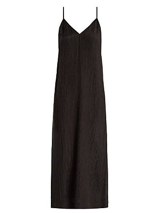 Raey V Neck Crinkled Silk Midi Slip Dress - Womens - Black