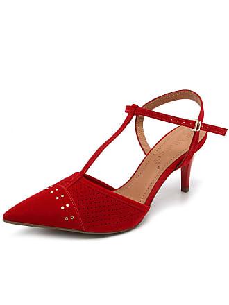 0b0a444cd7 Bebecê Scarpin Couro Bebecê Textura Vermelho