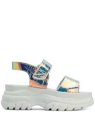 d931171383c1 Joshua Sanders holographic platform sandals - Metallic