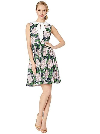 Unique Vintage 1960s Style Marin Flare Dress (Pink Floral/White Bow) Womens Dress