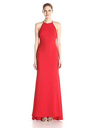 db3faa497d490 Badgley Mischka Womens Stretch Crepe Halter Gown, Red, 10