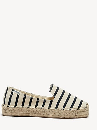 7a6f21fa9215 Soludos Womens Classic Stripe Smoking Slippers Natural black Size 6 Canvas  From Sole Society