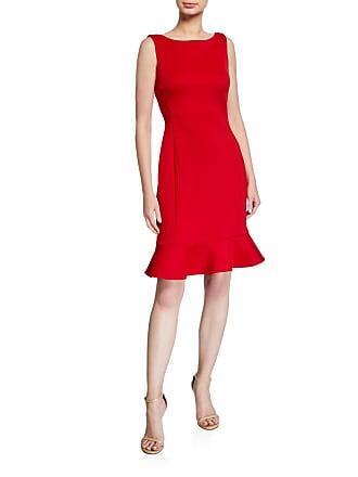 Iconic American Designer Stitched Ruffle Sleeveless Sheath Dress