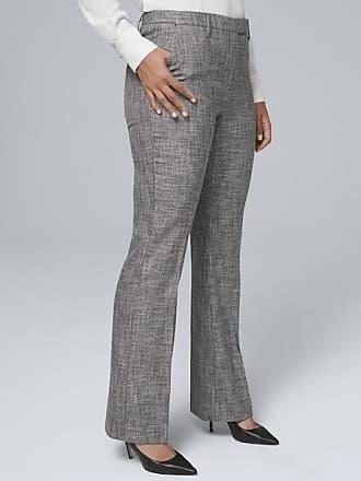 White House Black Market Womens Curvy-Fit Textured Suiting Slim Pants by White House Black Market, Gray, Size 12 - Regular