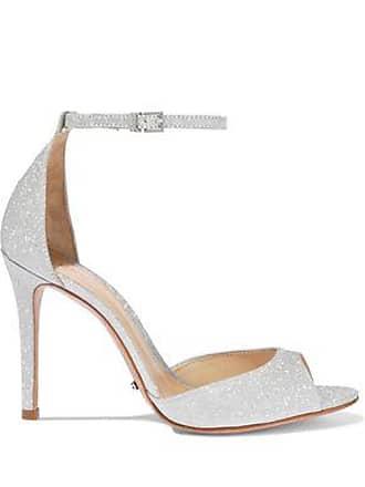 b0583018455 Schutz Schutz Woman Saasha Lee Glittered Leather Sandals Silver Size 8