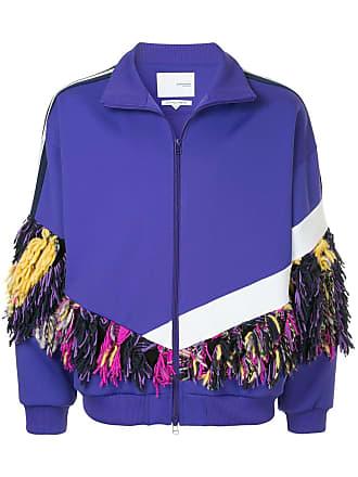 Yoshiokubo fringe track jacket - Purple