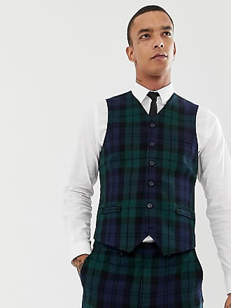 Heart & Dagger slim suit vest in blackwatch check - Green