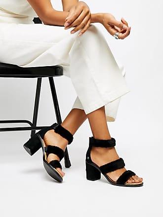 36101e93ebe3 UGG Del Rey Black Triple Strap Fluffy Heeled Sandals