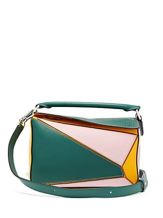ed32679e66 Loewe Puzzle Small Grained Leather Cross Body Bag - Womens - Green Multi