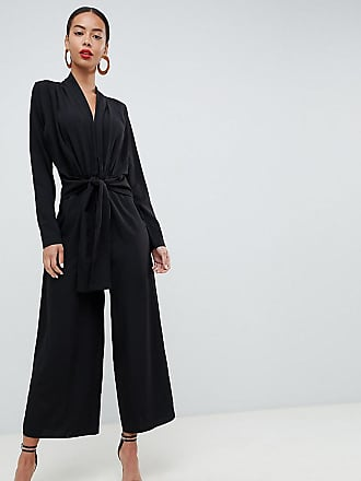 9f875cf7390 Asos Tall ASOS DESIGN Tall plunge neck jumpsuit with tie waist and culotte  leg