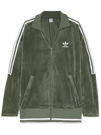 896653d364 adidas Originals Veste De Survêtement En Velours Stretch À Rayures - Vert
