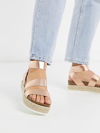 Steve Madden Kimmie flatform espadrille sandals in rose gold