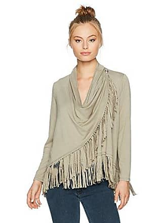 Ruby Rd. Womens Petite Silky French Terry Cardigan with Closure and Fringe Hem, sage, PET Medium