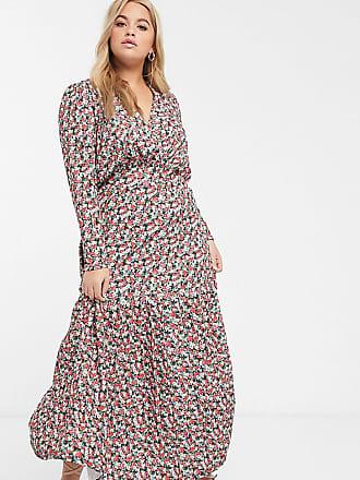 Asos Curve ASOS DESIGN Curve long sleeve maxi tea dress in pink floral print-Multi