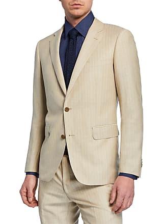 Neiman Marcus Mens Striped Linen Two-Piece Trim-Fit Suit, Beige