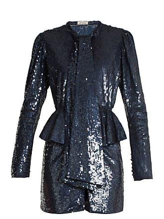 Attico Luna Peplum Waist Sequin Embellished Mini Dress - Womens - Blue Multi