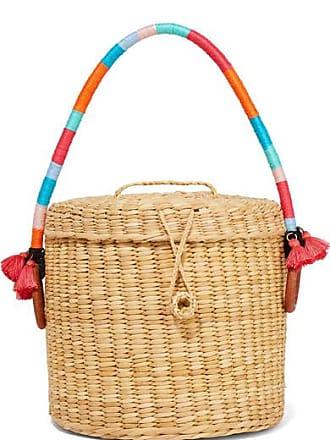 NANNACAY Bucket Tasseled Woven Raffia Tote - Sand