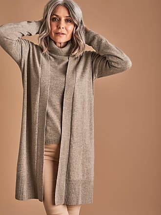 WoolOvers Womens Cashmere and Merino Edge to Edge Long Cardigan Pepper 083f77ebd