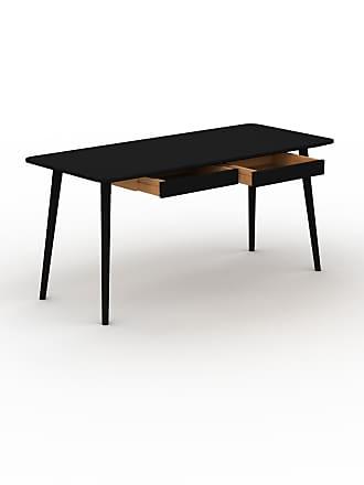 MYCS Schreibtisch Massivholz Schwarz - Moderner Massivholz-Schreibtisch: mit 2 Schublade/n - Hochwertige Materialien - 160 x 75 x 70 cm, konfigurierbar