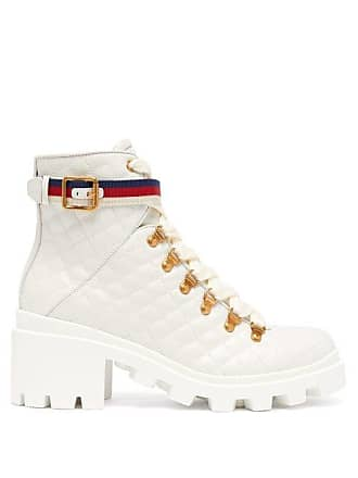 eeaf715f1 Gucci Webbed Strap Quilted Leather Boots - Womens - White