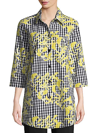 5e86b842 Caroline Rose Petite Hello Yellow Embroidered Button-Front Gingham Tunic