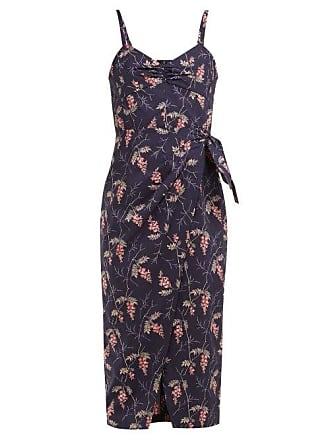 Rebecca Taylor Ivie Floral Print Cotton Midi Dress - Womens - Navy Multi