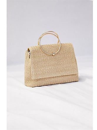 Dynamite Ring Straw Bag Natural Beige