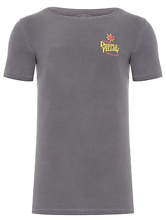PURPLE YELLOW CAMISETA MASCULINA CANNABIS - CINZA
