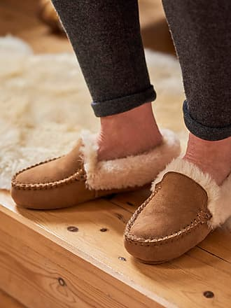 WoolOvers Womens Sheepskin Classic Moccasin Slipper Chestnut, 5