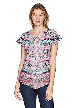 Oneworld Womens Short Sleeve Printed Top with Lace Back, Mosaic Passion/White, Medium