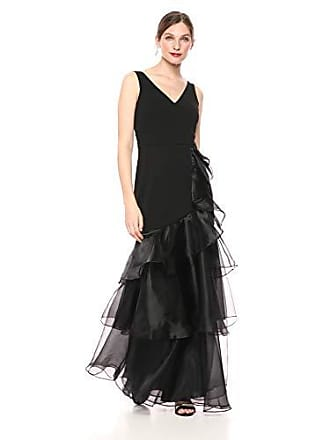 Calvin Klein Womens Sleeveless V-Neck Gown with Tiered Organza, Black, 14