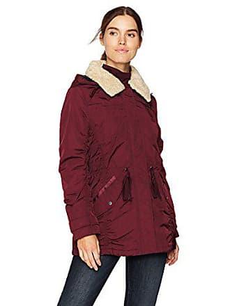 Andrew Marc Womens Nandie Fine Twill Nylon Jacket, Burgundy, Extra Small
