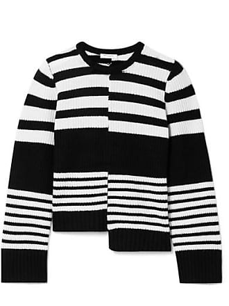Equipment Elm Asymmetric Striped Ribbed Cashmere Sweater - Black