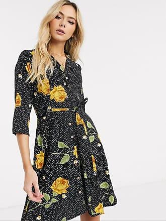 Qed London Hemdkleid mit Blumen-Punktemuster-Schwarz